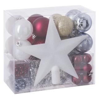 Kit déco pour sapin de Noël - 44 Pièces - Rouge, blanc et or