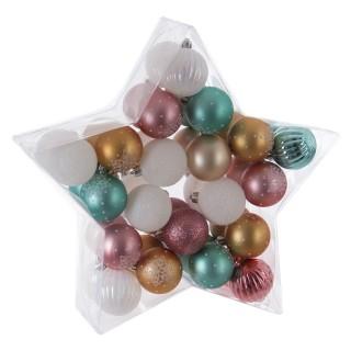 Kit déco pour sapin de Noël - 40 Pièces - Rose, blanc et bleu