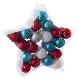 Kit déco pour sapin de Noël - 40 Pièces - Rouge, bleu et gris