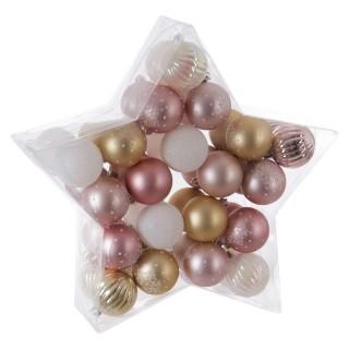 Kit déco pour sapin de Noël - 40 Pièces - Rose, blanc et or