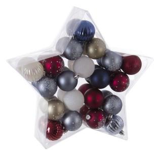 Kit déco pour sapin de Noël - 40 Pièces - Violet, gris et blanc