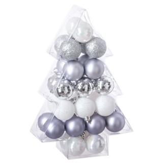 Kit déco pour sapin de Noël - 34 Pièces - Argent, blanc et gris