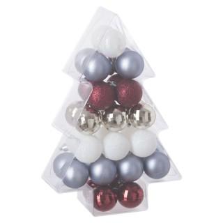 Kit déco pour sapin de Noël - 34 Pièces - Or, blanc et argent