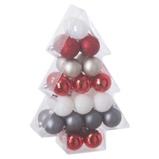 Kit déco pour sapin de Noël - 34 Pièces - Rouge, blanc et argent