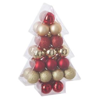 Kit déco pour sapin de Noël - 34 Pièces - Or et rouge