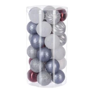 Kit déco pour sapin de Noël - 30 Pièces - Bleu, rouge et blanc
