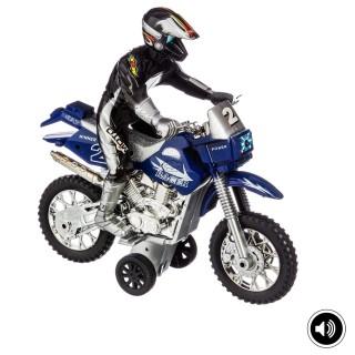 Moto cross à friction - Son et lumière - Bleu
