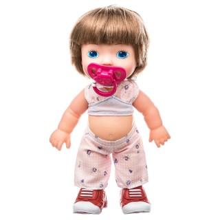 Poupée bébé avec tétine Louna - H. 36 cm - Chataîn clair pantalon