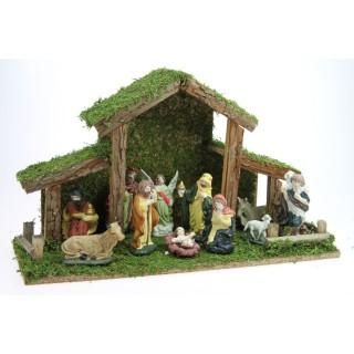 Crèche de Noël - 11 Santons - 38,5 x 22,5 cm