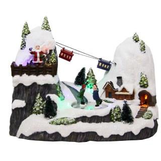 Village de Noël lumineux animé - 28 x 25 cm - Vallée