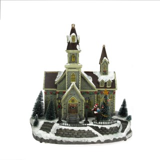 Village de Noël lumineux animé - 36 x 41 cm - Eglise et chorale