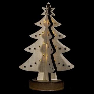 Sapin lumineux décoratif Noël - 21 x 28 cm - Blanc