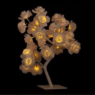 Arbre lumineux de Noël Rose - H. 45 cm - Blanc