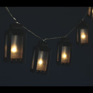 Guirlande lumineuse Noël Lanterne - L. 135 cm - Noir