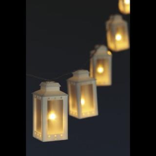 Guirlande lumineuse Noël Lanterne - L. 135 cm - Blanc