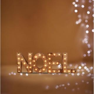 Décoration lumineuse lettres Noël - 44 x 3 x 15 cm - Marron