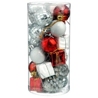 Kit déco pour sapin de Noël - 24 Pièces - Rouge, argent et blanc