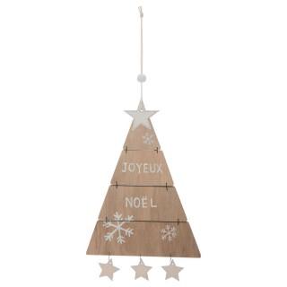 Décoration à suspendre Sapin de Noël articulé - 12,5 x 25,5 cm - Marron