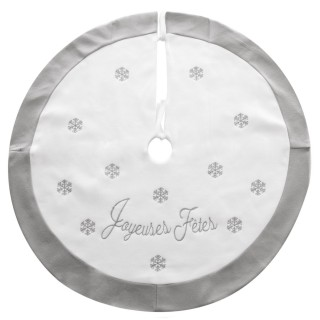Tapis pour sapin de Noël Flocons - Diam. 95 cm - Blanc