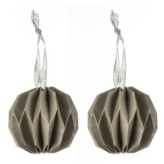 2 Boules de Noël Toupie Origami - Diam. 7,5 cm - Vert