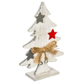 Sapin de Noël Nœud et Etoile - 10,5 x 3,5 x 15 cm - Argent