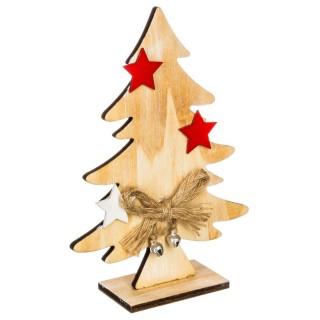 Sapin de Noël Nœud et Etoile - 10,5 x 3,5 x 15 cm - Or