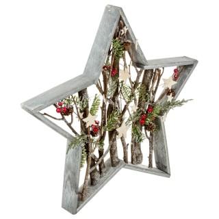 Etoile Nature Noël - 50 x 50 cm - Gris