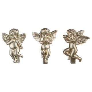 3 Pinces déco Noël Anges - H. 5 cm - Or