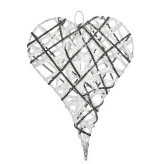 Cœur de Noël pailleté à suspendre - 21 x 26 cm - Blanc