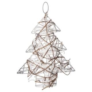 Sapin de Noël pailleté à suspendre - 17 x 20 cm - Blanc