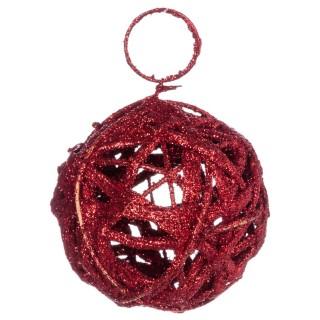 Boule de Noël pailletée à suspendre - Diam. 7,5 cm - Rouge