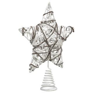 Cimier pour sapin de Noël - 51 x 47 cm - Blanc et beige