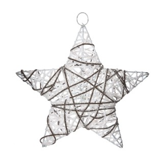 Etoile de Noël pailletée à suspendre - Diam. 30 cm - Blanc