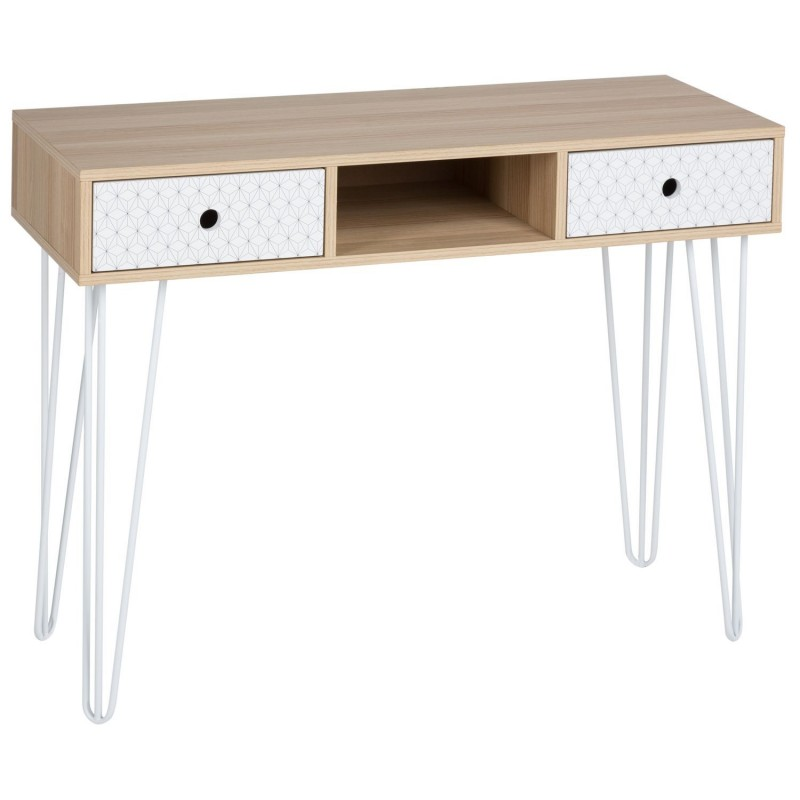 console 2 tiroirs effy 100 x 76 cm beige toilinux. Black Bedroom Furniture Sets. Home Design Ideas