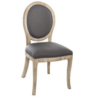 Chaise médaillon Cleon - Bois naturel - Gris