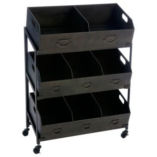 Meuble 8 Casiers à roulettes Torof - 78 x 106 cm - Noir