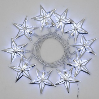 Guirlande 10 Etoiles lumineuses Noël - L. 135 cm - Blanc froid