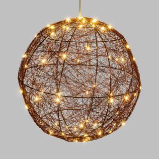 Sphère 3D métal lumineuse - Diam. 30 cm - Cuivré