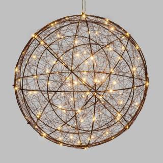 Sphère 3D lumineuse en métal - Diam. 45 cm - Cuivré
