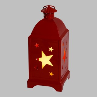 Lanterne avec bougie LED Etoile - 12 x 29 cm - Rouge