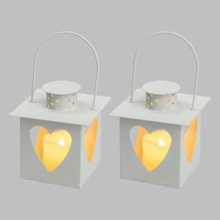 2 Lanternes avec bougies LED Coeur- 10,5 x 112 cm - Blanc