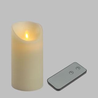 Bougie Rustique LED - 7,5 x 15 cm - Blanc