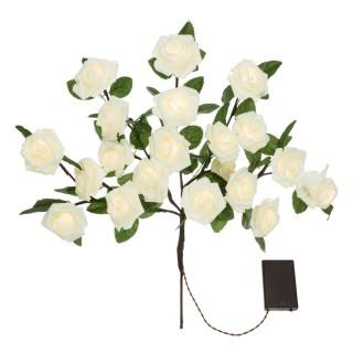 Composition de 20 Roses lumineuses - H. 40 cm - Blanc