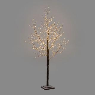 Arbre enneigé lumineux doré - H. 180 cm - Marron