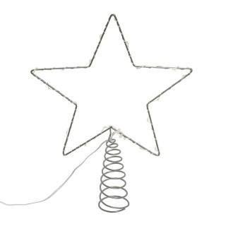 Cimier pour sapin de Noël - 26 x 20 cm - Blanc froid