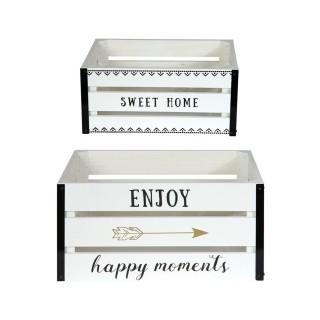 2 Cagettes de rangement Enjoy - 40 x 30 cm - Blanc