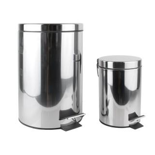 2 Poubelles en métal à pédale - 12 L et 3 L - Argent