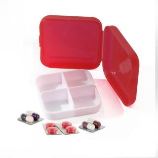 Pilulier de voyage 4 Compartiments - 6,5 x 6,5 - Rouge