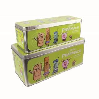2 Boîtes à pharmacie - 27 x 12 cm - Vert