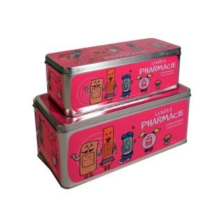 2 Boîtes à pharmacie - 27 x 12 cm - Rose